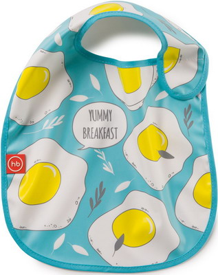 Нагрудник Happy Baby WATERPROOF BABY BIB X1 16009 BLUE (яичница)