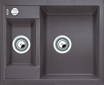 Кухонная мойка BLANCO METRA 6 SILGRANIT темная скала с клапаном-автоматом blanco metra 6 silgranit темная скала с клапаном автоматом