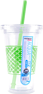 Стакан Frybest AC1-03 с трубочкой (500 мл) Зеленый