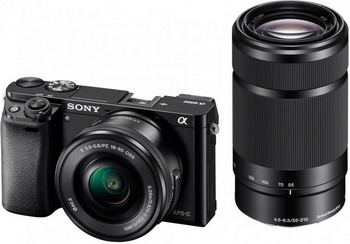 Цифровой фотоаппарат Sony Alpha ILCE-6000 Kit 16-50 PZ+ 55-210 черный sony alpha ilca 77m2q kit 16 50 black