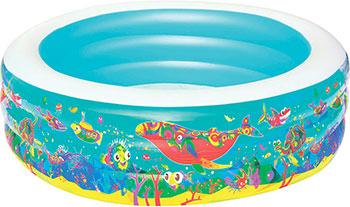 Детский круглый бассейн BestWay Подводный мир 51122 BW бассейн каркасный bestway 244х51см с навесом 56432 bw