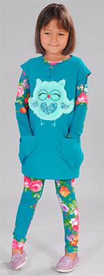 Блузка + туника Fleur de Vie 24-2060 рост 110 м.волна блуза fleur de vie 24 2191 рост 110 морская волна