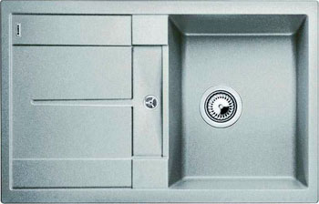Кухонная мойка BLANCO METRA 45 S SILGRANIT жемчужный с клапаном-автоматом мойка кухонная blanco metra 6 s compact silgranit puradur жемчужный с клапаном автоматом 520576