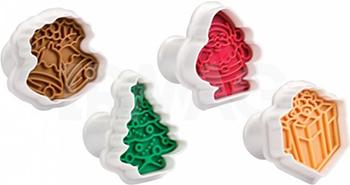 Формочки с печатью для печенья Tescoma DELICIA 4шт рождественские 630857 противень для выпечки tescoma delicia 46 x 30см 623014