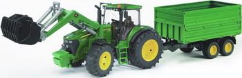 Трактор John Deere 7930 с погрузчиком и прицепом Bruder 03-055 трактор bruder fendt 936 vario с погрузчиком 03 041