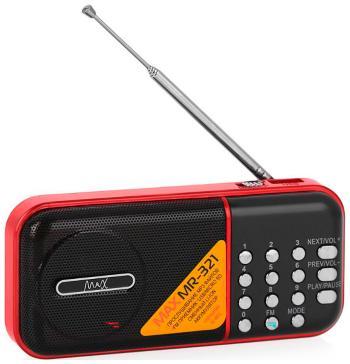 Портативный радиоприемник MAX MR-321 красный с MP3 семья руи ruizu a50 64g hifi портативный без потерь музыкальный плеер с экраном карты mp3