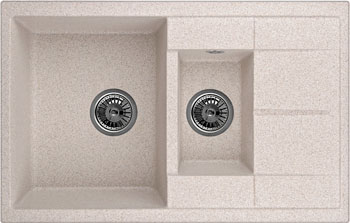 Кухонная мойка Weissgauff QUADRO 775 K Eco Granit песочный  weissgauff quadro 575 eco granit серый беж