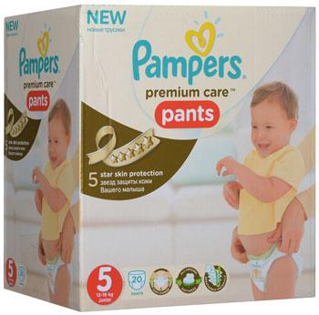 Фото Трусики-подгузники Pampers Premium Care Pants Junior (12-18 кг) Сред. Упаковка 20 шт