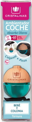 Ароматизатор CRISTALINAS для автомобиля подвесной с ароматом детского крема 6 мл парфюм для дома cristalinas cristalinas natural wood палочки ротанговые натуральные 7 шт