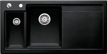Кухонная мойка BLANCO AXON II 6 S КЕРАМИКА (чаша слева) черный PuraPlus с клапаном-автоматом  мойка axia ii 6 s f rock grey 518834 blanco