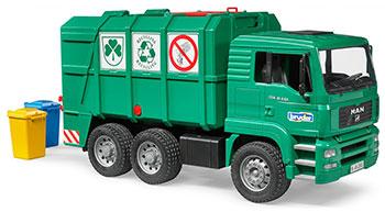 Мусоровоз Bruder MAN TGA (цвет зеленый) 02-753 машины bruder мусоровоз mack 02 812