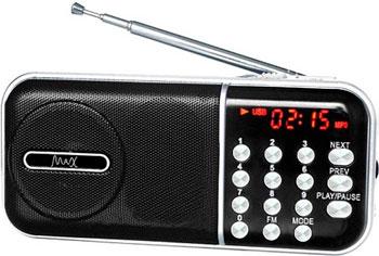 Портативный радиоприемник MAX MR-321 черный с MP3 семья руи ruizu a50 64g hifi портативный без потерь музыкальный плеер с экраном карты mp3