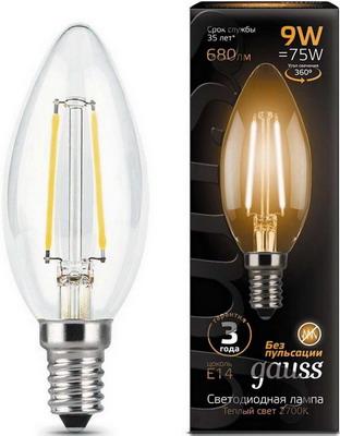 Купить Лампа GAUSS, Filament Свеча E 14 9W 2700 K 103801109, Китай