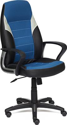 Компьютерное кресло Tetchair INTER (кож/зам/ткань черный/синий/серый 36-6/С24/14) цена