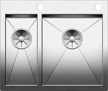 Кухонная мойка BLANCO ZEROX 340/180-IF/А нерж. сталь зеркальная полировка с клапаном-автоматом 521642 смеситель для кухонной мойки blanco levos s зеркальная нержавеющая сталь 514918