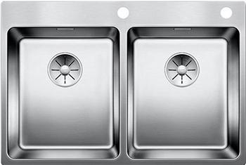 Кухонная мойка BLANCO ANDANO 340/340-IF-A нерж. сталь зеркальная полировка с клапаном-автоматом 522997 кухонная мойка blanco andano 500 180 u нерж сталь полированная с клапаном автоматом правая