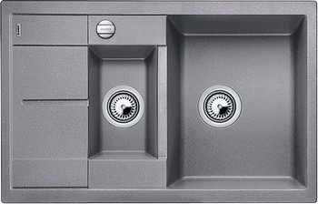 Кухонная мойка BLANCO METRA 6S COMPACT SILGRANIT серый беж с клапаном-автоматом кухонная мойка blanco metra 5 s silgranit серый беж с клапаном автоматом
