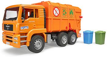 Мусоровоз Bruder MAN TGA (цвет оранжевый) (подходит модуль со звуком и светом ''H'') 02-760 машинки bruder мусоровоз man цвет оранжевый подходит модуль со звуком и светом h