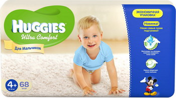 Подгузники Huggies Ultra Comfort Размер 4 10-16кг 68шт для мальчиков