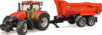 Трактор Bruder Case IH Optum 300 CVX с прицепом Krampe Tandem-Halfpipe 03-199 трактор с прицепом св ход 36см dickie