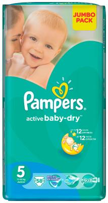 Подгузники Pampers Active Baby-Dry 5 (11-18 кг) 58 шт