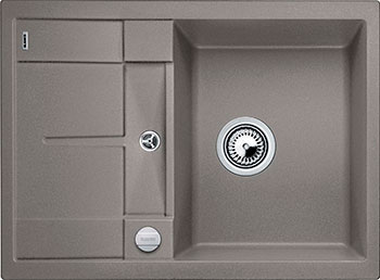 Кухонная мойка BLANCO METRA 45 S COMPACT SILGRANIT серый беж с клапаном-автоматом кухонная мойка blanco metra 5 s silgranit серый беж с клапаном автоматом