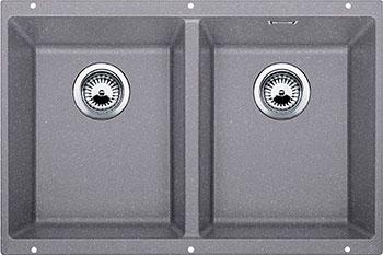 Кухонная мойка BLANCO SUBLINE 350/350-U SILGRANIT алюметаллик с клапаном-автоматом  цена и фото