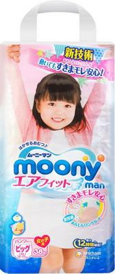 Трусики-подгузники Moony для девочек 12-17 кг. 38 шт. (XL)