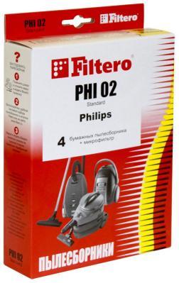 Набор пылесборники + фильтры Filtero PHI 02 (4) Standard пылесборники filtero sie 02 standard двухслойные 5 шт для пылесосов siemens bosch