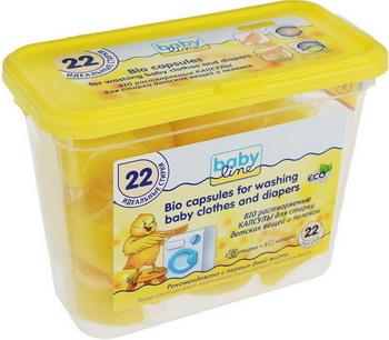 Капсулы для стирки BABYLINE BIO для детских вещей и пеленок 22 шт
