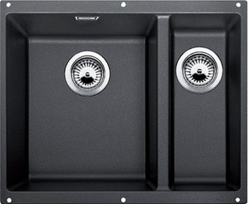 Кухонная мойка BLANCO SUBLINE 340/160-U SILGRANIT антрацит (чаша слева) мойка subline 375 u cer magnolia 519595 blanco