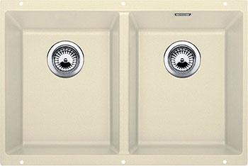 Кухонная мойка BLANCO SUBLINE 350/350-U SILGRANIT жасмин с клапаном-автоматом  мойка subline 350 150 u cer basalt 516976 blanco