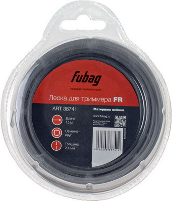 Леска FUBAG L 15 м * 2.4 мм 38741 леска starline d 3 0 мм l 15 м звезда блистер пр во россия 805205013