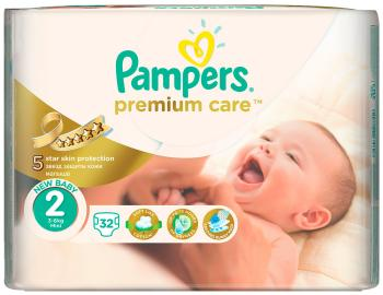 Подгузники Pampers Premium Care Mini 3-6 кг  2 размер  32 шт подгузники pampers newbaby dry mini 2 3 6 кг