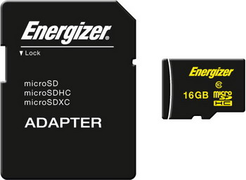 Карта памяти Energizer 16 GB MicroSDHC class 10 UHS- с адаптером