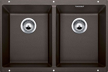 Кухонная мойка BLANCO SUBLINE 350/350-U SILGRANIT кофе с клапаном-автоматом  цена и фото