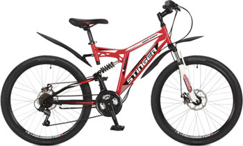 Велосипед Stinger 26'' Highlander 100 D 18'' красный 26 SFD.HILAND1D.18 RD7 велосипед stinger highlander d 26 рама 16 оранжевый