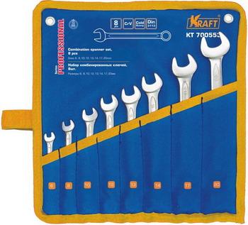 Набор комбинированных ключей Kraft KT 700553 съёмник шаровых опор шарнирных соединений с рычагом kraft cr v kt 701025