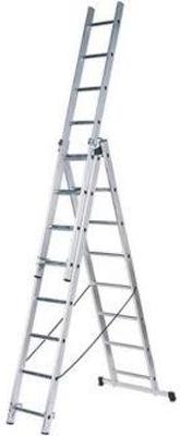 Лестница алюминиевая Вихрь трёхсекционная ЛА 3х8 73/5/1/21 универсальная лестница krause monto tribilo 3х8 перекладин 245 520 см 121301