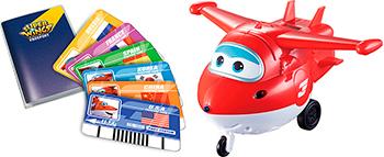Джетт Super Wings с пластиковыми карточками разных стран свет звук вертолеты и самолеты super wings самолет джетт с пластиковыми карточками разных стран