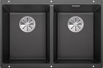 Кухонная мойка BLANCO SUBLINE 350/350-U SILGRANIT антрацит с отв.арм. InFino 523574 blanco subline 160 u антрацит