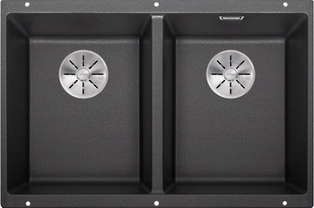 Кухонная мойка BLANCO SUBLINE 350/350-U SILGRANIT антрацит с отв.арм. InFino 523574 blanco statura 160 u