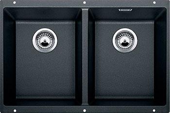 Кухонная мойка BLANCO SUBLINE 350/350-U SILGRANIT антрацит с клапаном-автоматом  blanco subline 320 u антрацит
