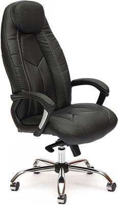 Кресло Tetchair BOSS люкс (кож/зам черный черный перфорированный 36-6/36-6/06) zhileyu черный sq8