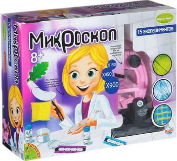 Французские опыты Науки с Буки Bondibon Микроскоп для девочек ВВ1214