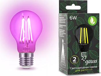 Фитолампа для растений GAUSS LED Fito Filament 6W E 27 102802906 светодиодная фитолампа espada fito led e27 5w 85 265v