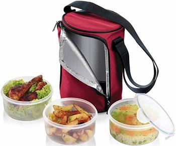 Термосумка для переноса еды Tescoma FRESHBOX с 3 емкостями 0 8 л бордовый 892210