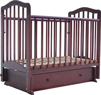 Детская кроватка Лаура 5  маятник поперечный  ящик   Махагон лаура 3 маятник поперечный без ящика махагон
