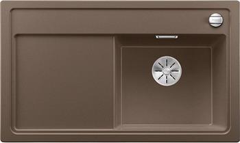 Кухонная мойка BLANCO ZENAR 45 S (чаша справа) кофе с кл.-авт. InFino мойка кухонная blanco zenar 45s чаша справа белый с клапаном автоматом 519255