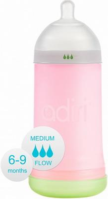 Набор для кормления детей Adiri NxGen Medium Flow Pink 6-9 мес. 281 мл adiri бутылочка nxgen 2 nurser 6 9 мес 281 мл adiri blue